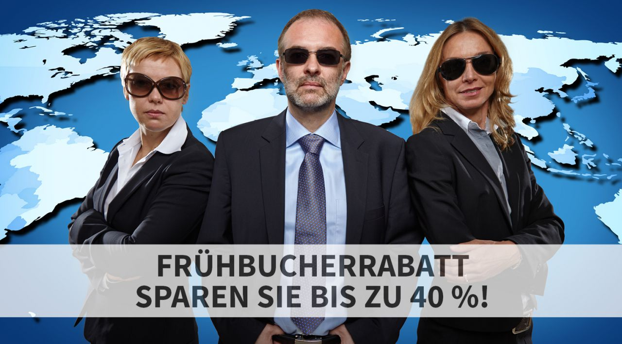 Frühbucherrabatt: sparen Sie bis zu 40 % - verlängert bis 31.01.2017!